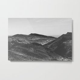 summer view with mountain in the desert in black and white Metal Print