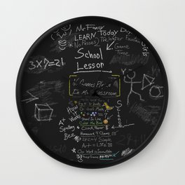 Today's  New School Lesson Is On The Blackboard  Wall Clock
