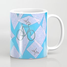 Bicycles and Butterflies Blue Coffee Mug
