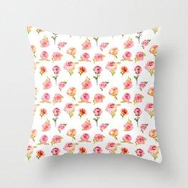 Rosarium. Hand drawn watercolor pattern Throw Pillow