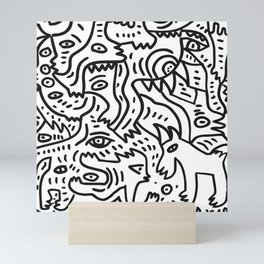 The Boy and The Magic Goat Street Art Black and White Mini Art Print