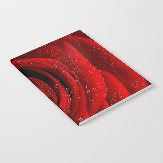Red rose with sparkling droplets- Beautiful elegant and luxury backround Notebook