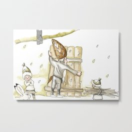 Winter - Inspiration of Elsa Beskow Metal Print
