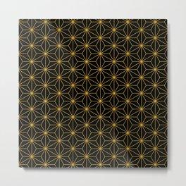 Asanoha -Gold & Black- Metal Print