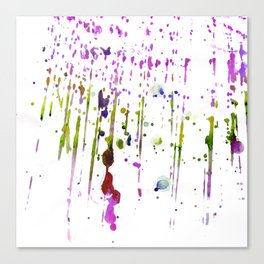 Abstract lime green neon pink purple watercolor paint splatters Canvas Print