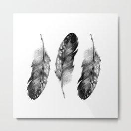 Three Feathers Black And White Metal Print