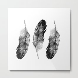 Three Feathers Black And White Metal Print