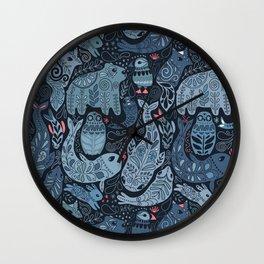 Arctic animals. Polar bear, narwhal, seal, fox, puffin, whale Wall Clock