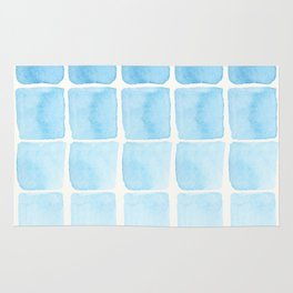 Watercolour Blue Seaside Squares Pattern Rug