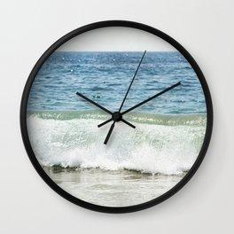 Blue Ocean Seascape, Sea Wave Photography, Pacific Coastal Landscape, Beach Seashore Wall Clock