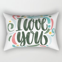 I love you. Hand-painted lettering. Rectangular Pillow