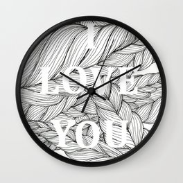 I love you on a braided background Wall Clock