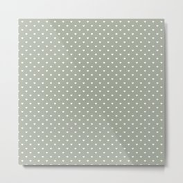 White Polka Dot Hearts on Desert Sage Grey Green Metal Print