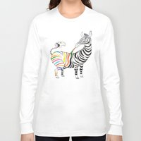 zebra Long Sleeve T-shirts featuring Zebra by gunberk