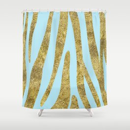 Golden exotics - Zebra and aqua blue Shower Curtain