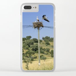 A stork's nest on a telegraph pole Clear iPhone Case