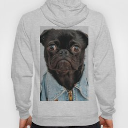 Cute Black Dog - Face Portrait Hoody
