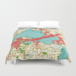 Vintage Map of Madison Wisconsin (1959) Duvet Cover