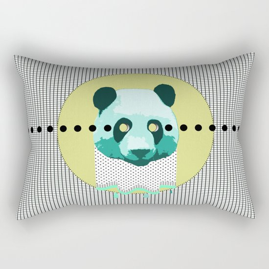 the blue panda who was melting black and white Rectangular Pillow