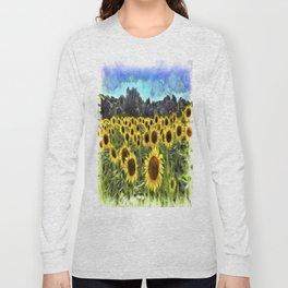 Sunflower Field Vincent Van Goth Long Sleeve T-shirt
