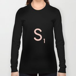 Pink Scrabble Letter S - Scrabble Tile Art and Accessories Long Sleeve T-shirt