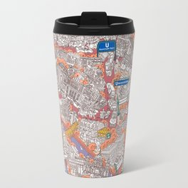 Illustrated map of Berlin-Mitte. Red Travel Mug