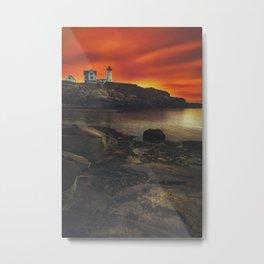 Maine Lighthouse Sunrise Metal Print