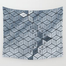 Soft gradient cubes in grey tones Wall Tapestry