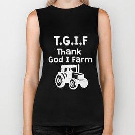TGIF - Thank God I Farm Biker Tank