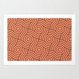 Circle Swirl Pattern - Inspire By Fringe Orange, Orange Slice, Fiery Sky Orange, Heirloom Tomato Art Print