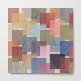 Vintage Colorful Squares Metal Print