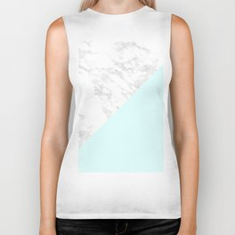 White Marble with Pastel Blue and Grey Biker Tank
