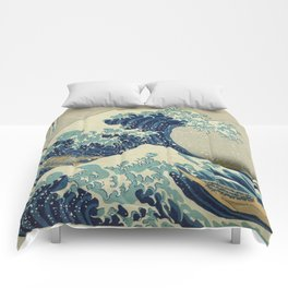 Great Wave Off Kanagawa (Kanagawa oki nami-ura or 神奈川沖浪裏) Comforters