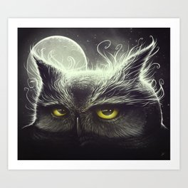 Owl & The Moon Art Print