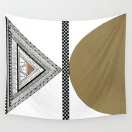 Geometric Shapes with Gold, Copper and Silver Wall Tapestry