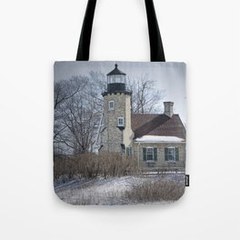 Lighthouse during Winter in Whitehall Michigan Tote Bag