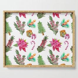 Christmas Pattern with Australian Native Bottlebrush Flowers Serving Tray