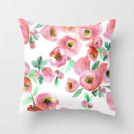 Floral Print Pink Chaenomeles Throw Pillow