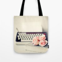 writing Tote Bags featuring Writing Inspiration by Caroline Mint