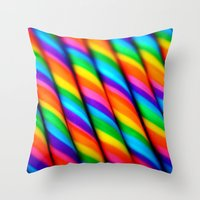 candy Throw Pillows featuring Rainbow Candy : Candy Canes by Whimsy Romance & Fun