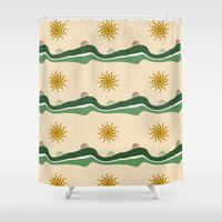 bikes Shower Curtains featuring Bikes Pattern by Christina Rollo