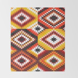 Colorful patchwork mosaic, oriental kilim rug Throw Blanket