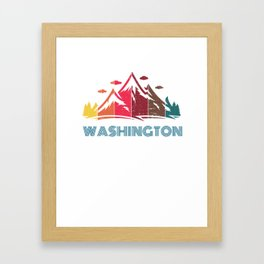 Retro Mountain Washington Design  for Men Women and Kids Framed Art Print