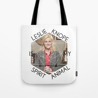 leslie knope Tote Bags featuring Leslie Knope is My Spirit Animal by Dwell Beautiful