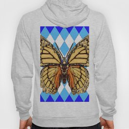 ABSTRACTED  BROWN SPICE  MONARCHS BUTTERFLY  &   BLUE-WHITE HARLEQUIN PATTERN Hoody
