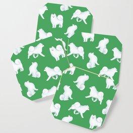Samoyed Pattern (Green Background) Coaster