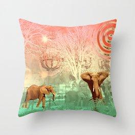Elephants in the Ballroom Throw Pillow