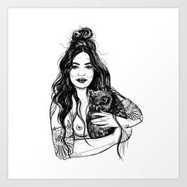 Woman Holding an Owl Art Print