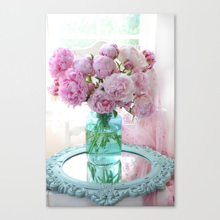 Peonies In Aqua Vase Vintage Romantic Peony Bedroom Decor Canvas ...