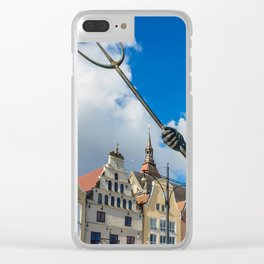 Sculpture on a place in Rostock Clear iPhone Case